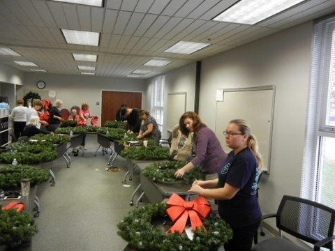 Building the holiday wreaths