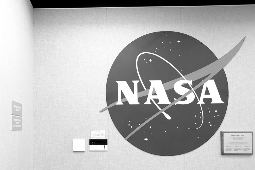 The original Nasa sign photographed in the Apollo 11 debriefing room