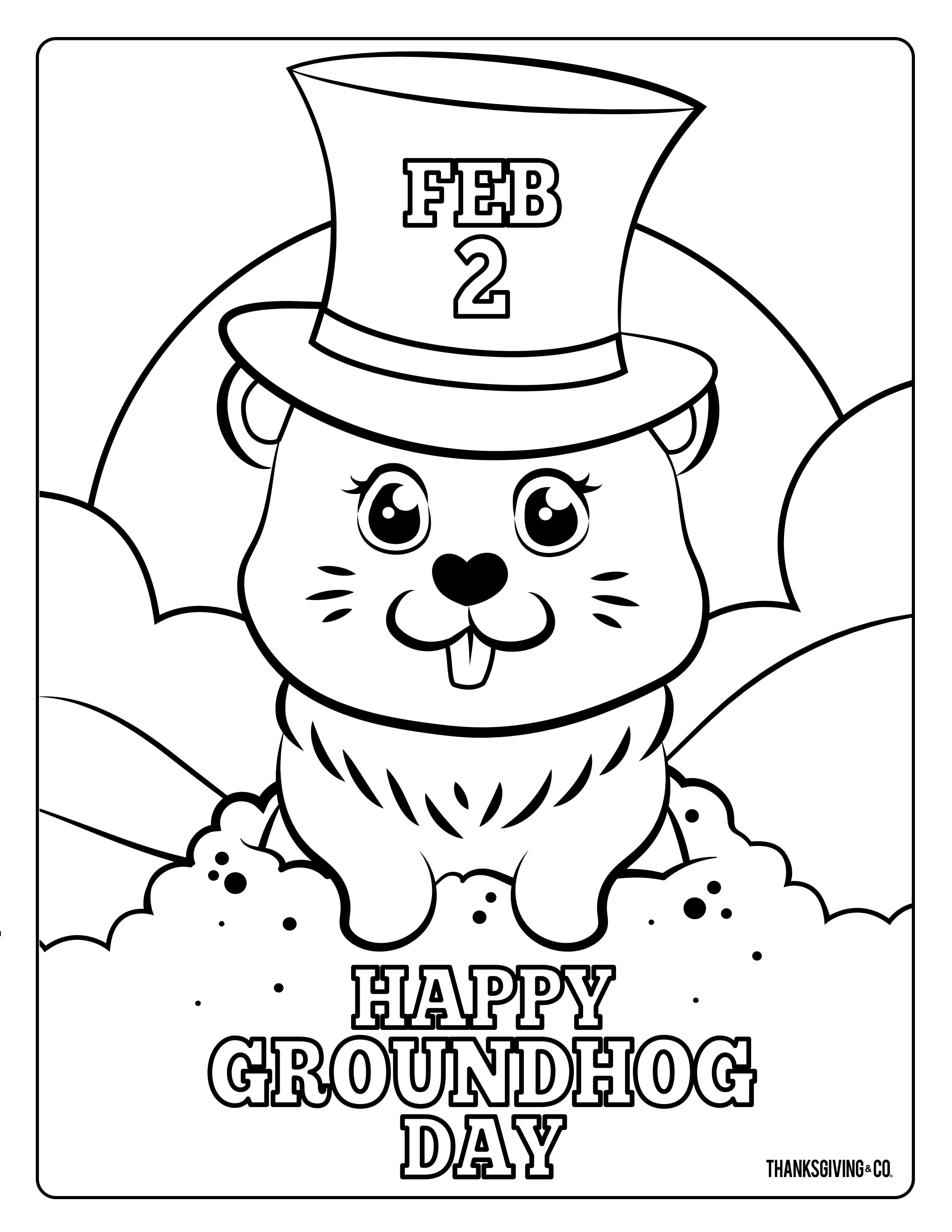 4 Adorable Groundhog Day Coloring Pages For Kids