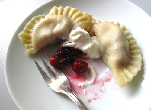 """""""Pierogi z Wisniami,"""" from Dash of Vanilla, via """"How To Assemble Pierogi: Rolling, Stuffing, Sealing, and Boiling,"""" from Make It Like a Man!"""