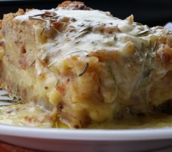"""Apple Cheese Strata with Rosemary and Bacon,"" from Make It Like a Man!"
