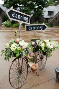 Wedding Brain Bike with flowers and signs