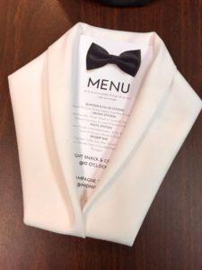 Wedding tuxedo napkin