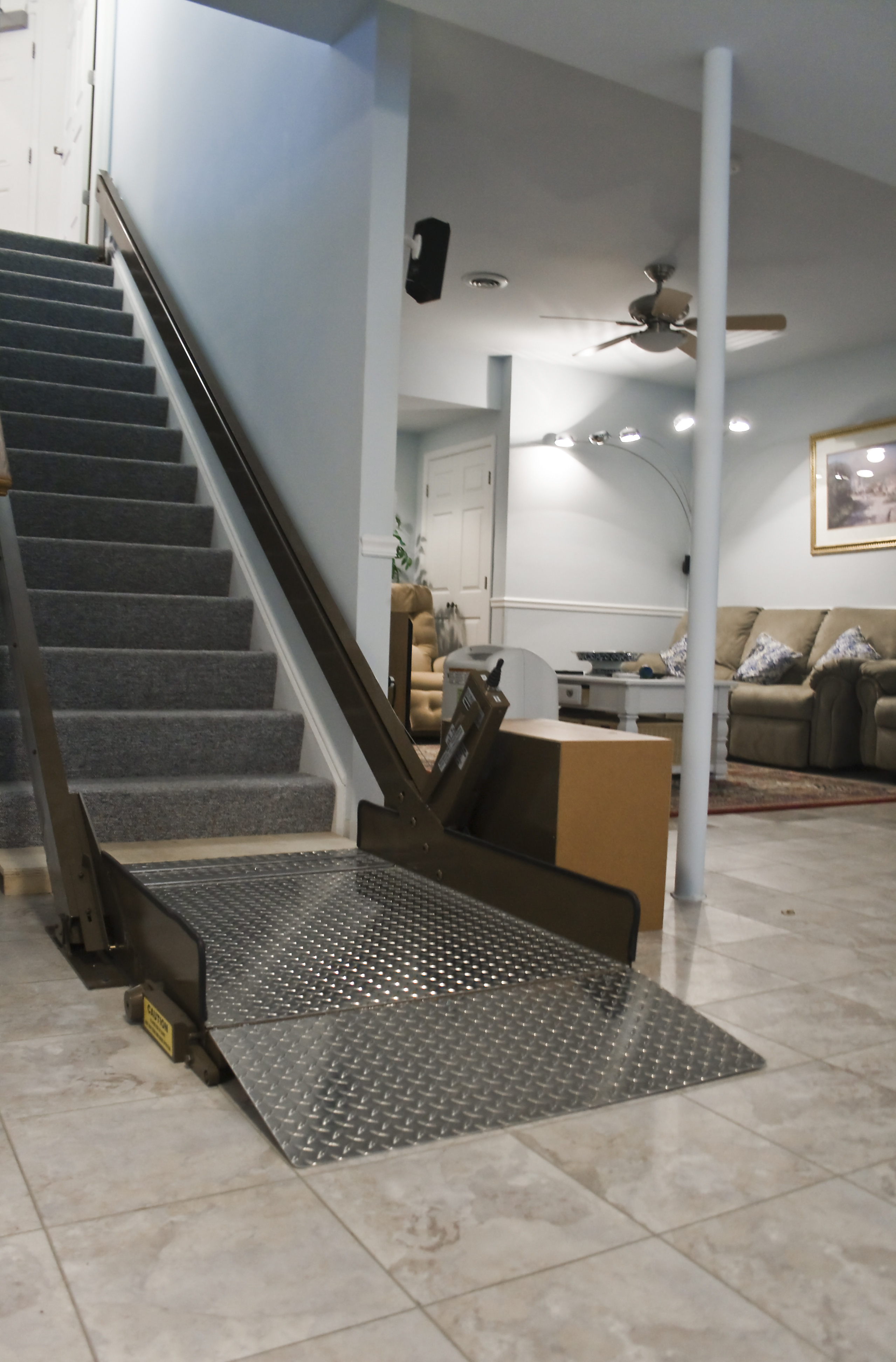 chair lifts for stairs with landings upholstery fabric dining room chairs butler mobility incline platform lift