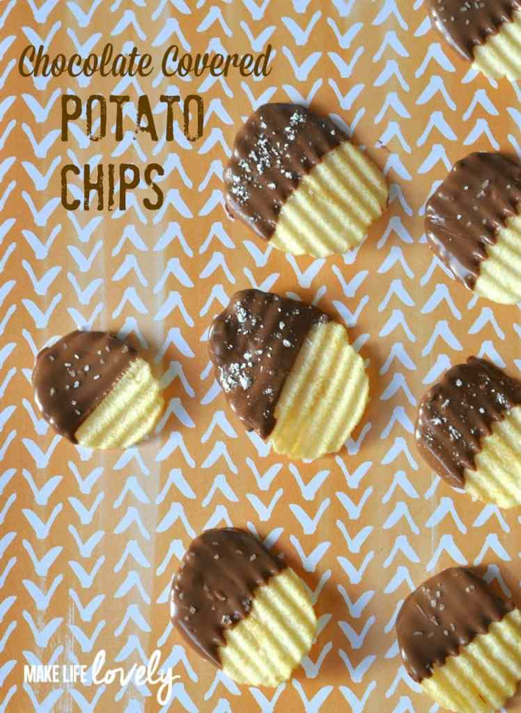 Chocolate Covered Potato chips are dipped in sweet chocolate and are salty and sweet