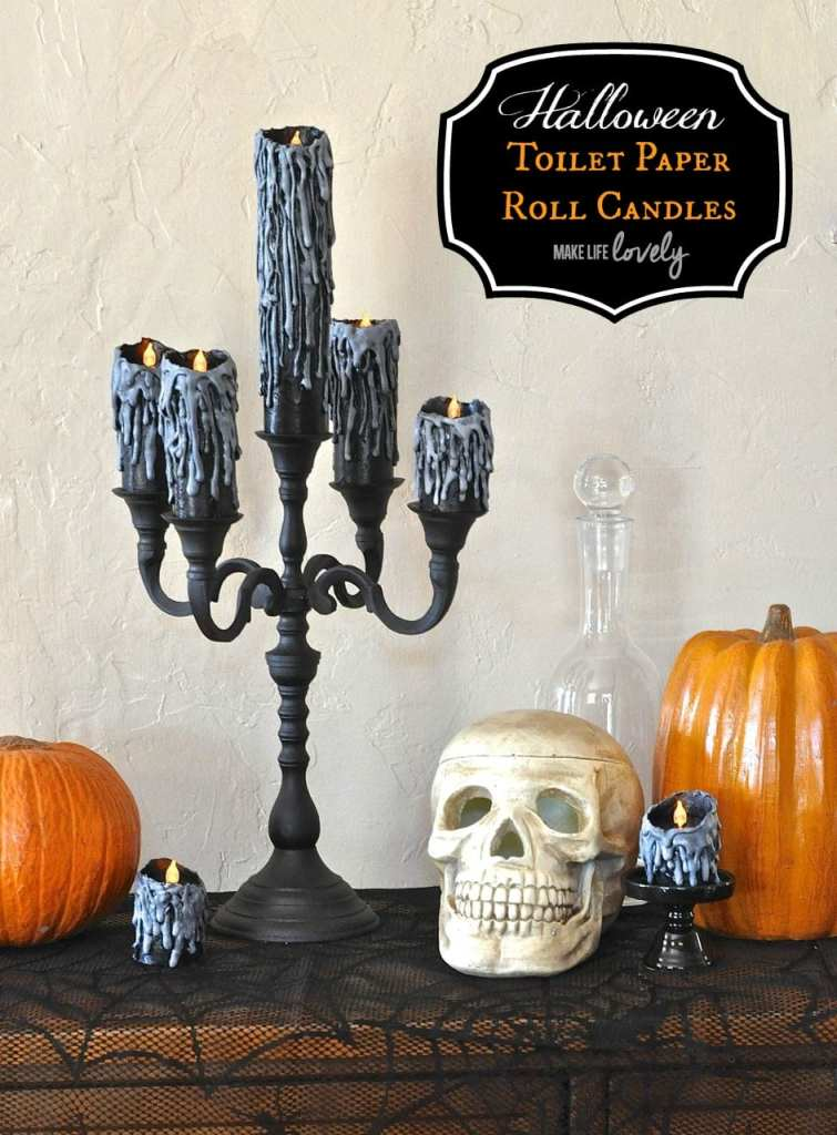 Awesome Halloween candles made from toilet paper rolls and a glue gun!