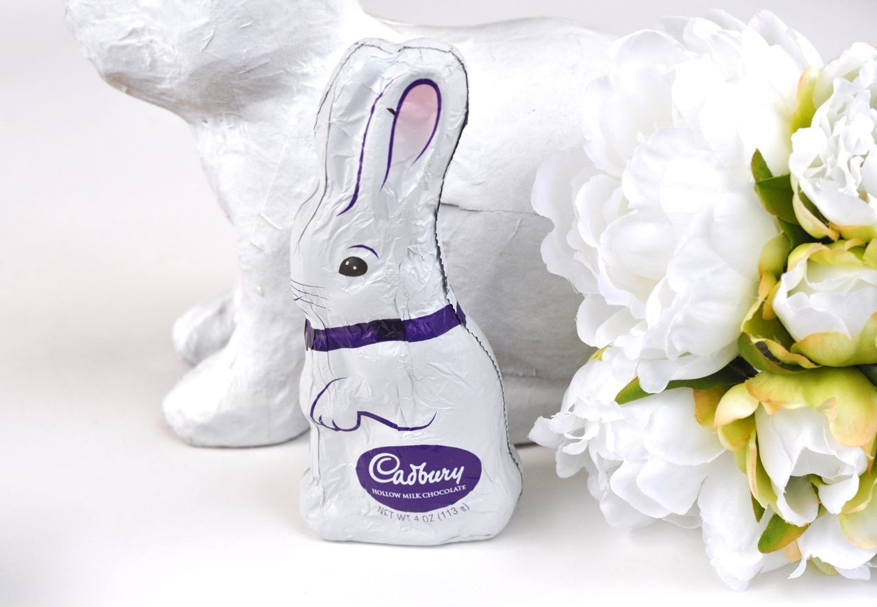 Cadbury bunny Easter candy in an Easter basket for girls