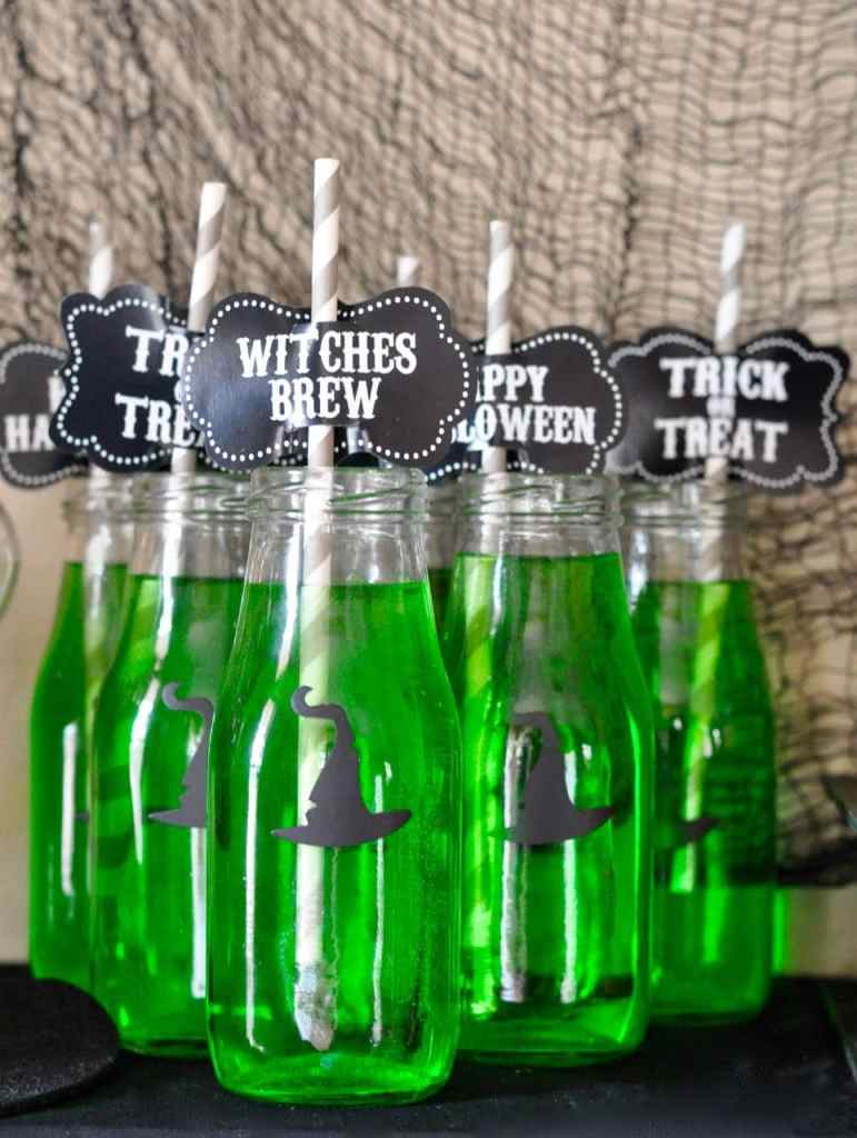 Witch Drink Bottles for Halloween using Tim Holtz Hocus Pocus Die