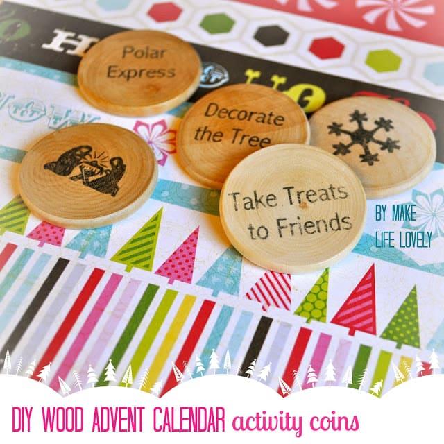 DIY Wood Advent Calendar Coins