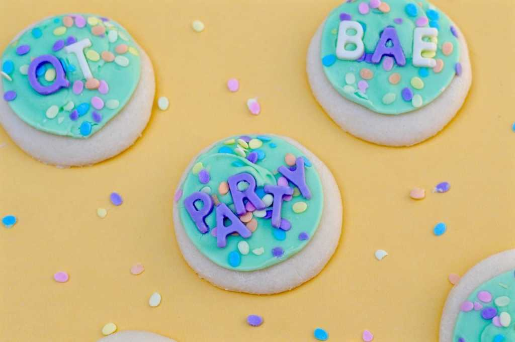 Chocolate letters made from silicone letter mold on sugar cookies
