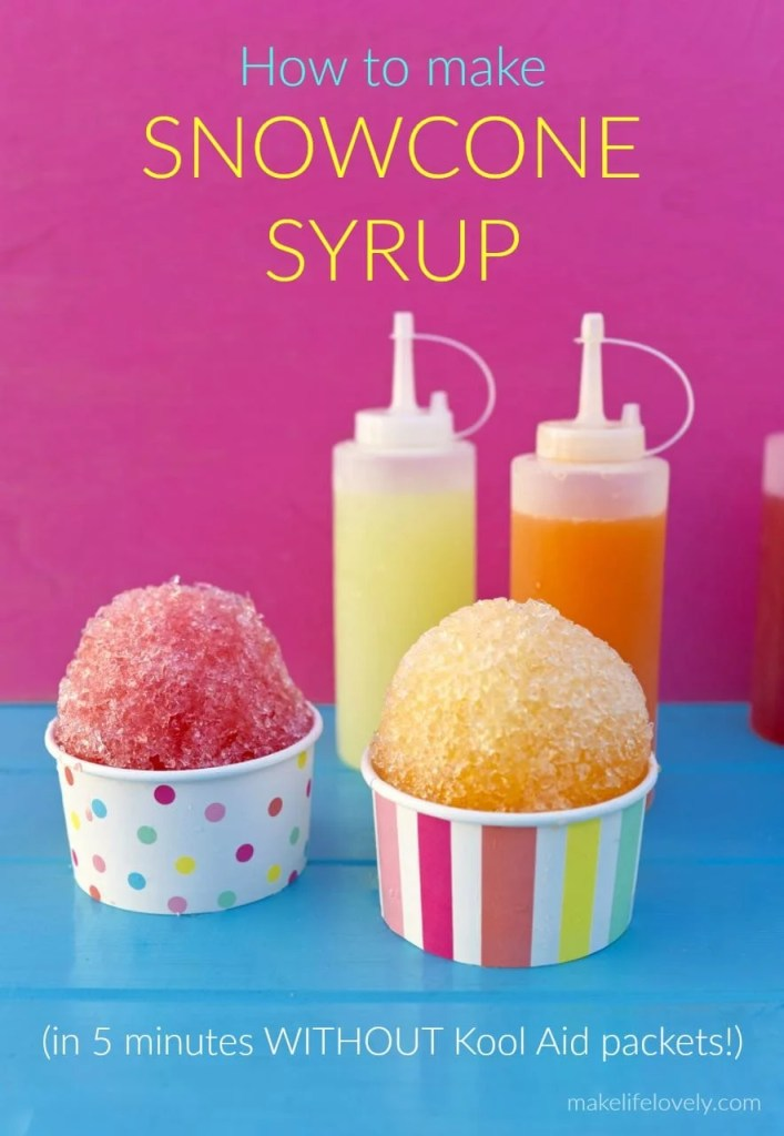 Snowcone syrup recipe that doesn't use Kool Aid packets and tastes great!