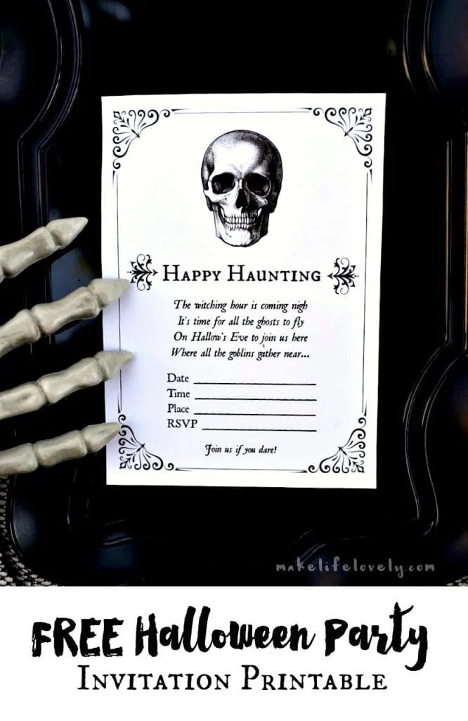 FREE Halloween party invitation printable. Super cute and easy!