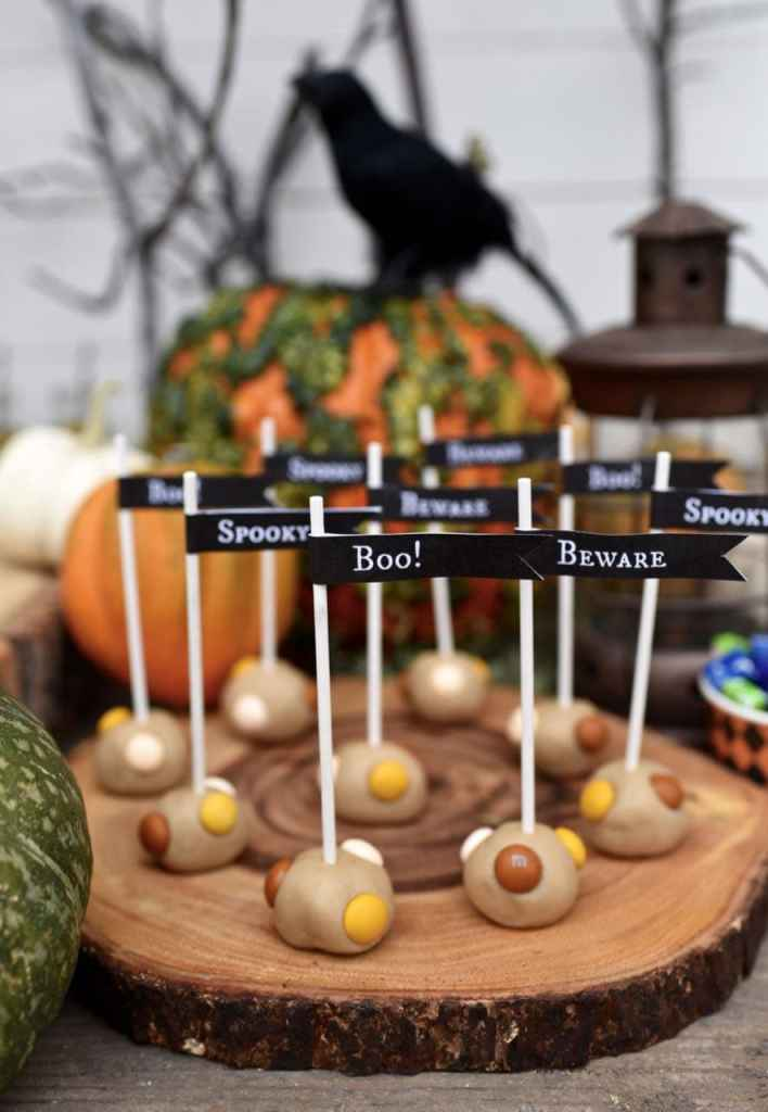 Butterscotch cookie dough pops at a haunted forest Halloween party