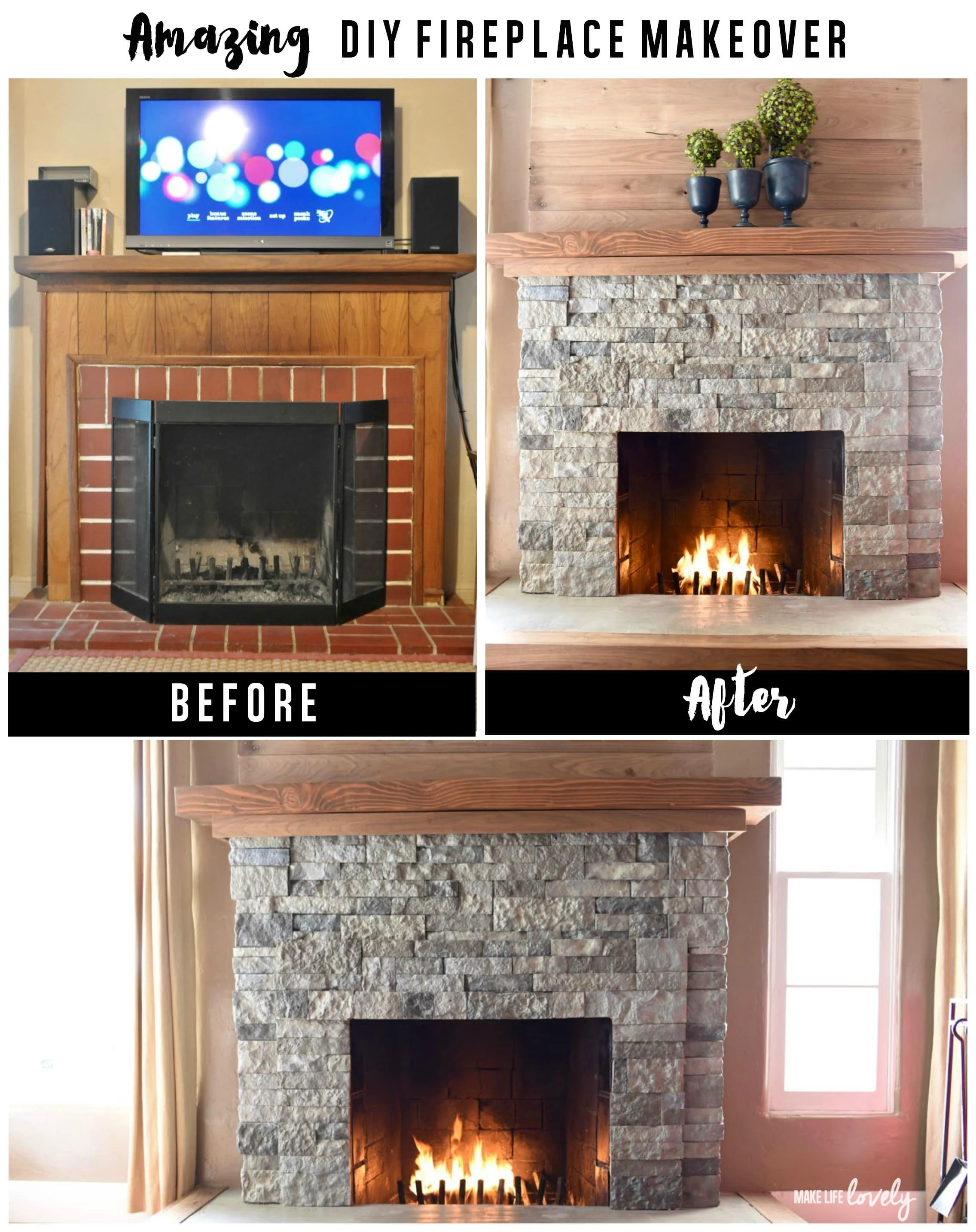 Rustic Basement Ideas Airstone Fireplace Makeover Make Life Lovely