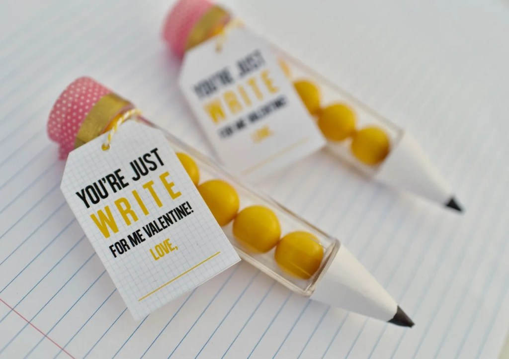 Pencil valentines + free printable tags for Valentine's Day. Cute!