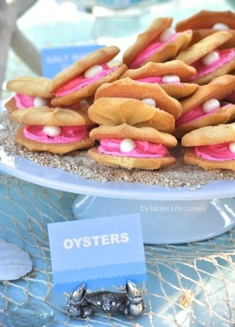 Oyster cookies for an under the sea party