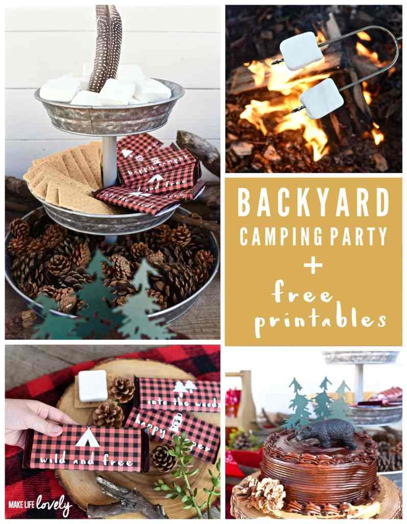 Backyard camping party with cute free printables!