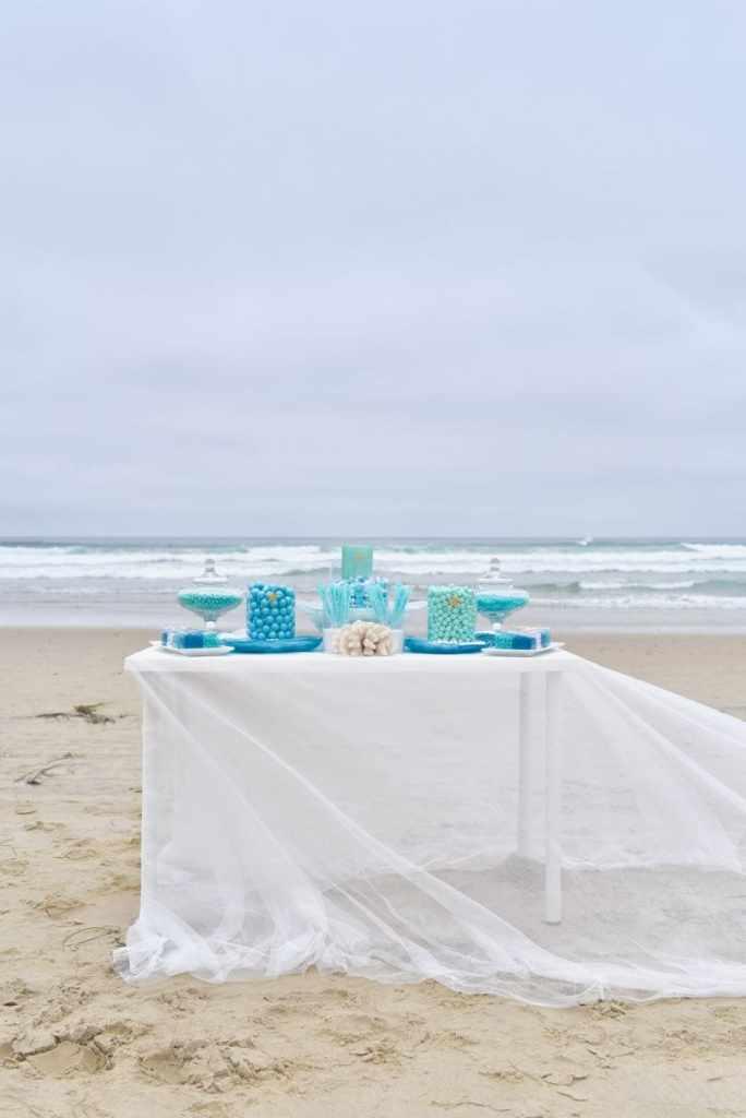 Beach wedding blue candy buffet