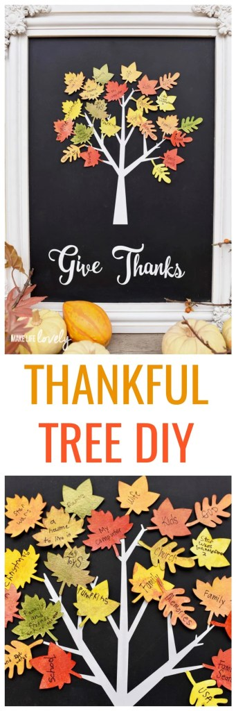 Thankful Tree DIY. Thanksgiving home decor tutorial that is easy to make with the kids, and is a great way to show what you're grateful for this Thanksgiving!
