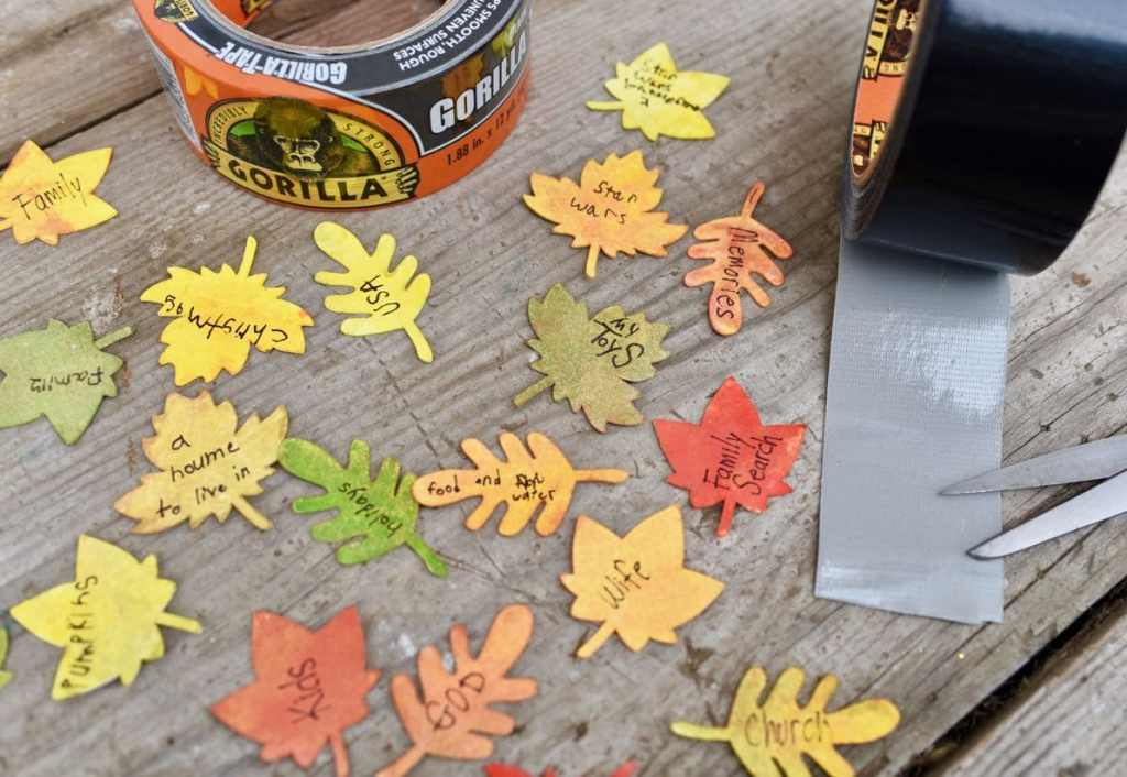 Thankful tree craft leaves with Gorilla tape