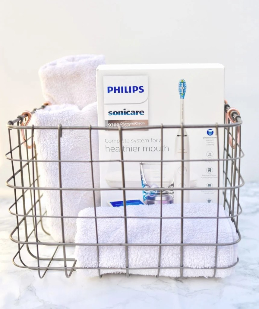 Guest welcome basket with Philips Sonicare toothbrush