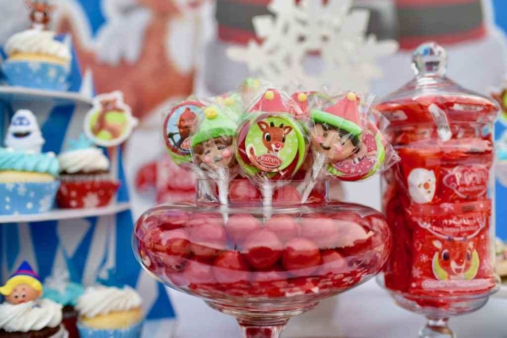 Rudolph the Red-Nosed Reindeer party dessert table for Christmas
