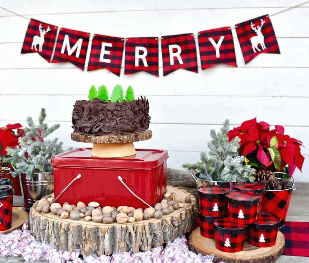 Rustic Christmas party buffalo plaid party