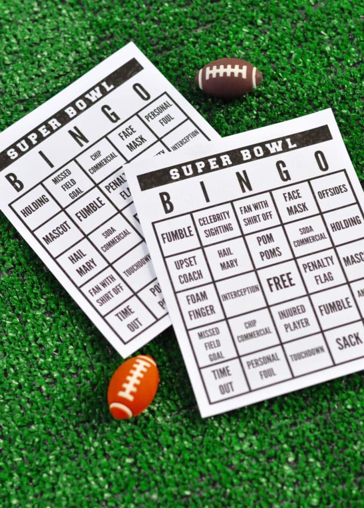 Free printable Super Bowl bingo game, perfect for a football party!