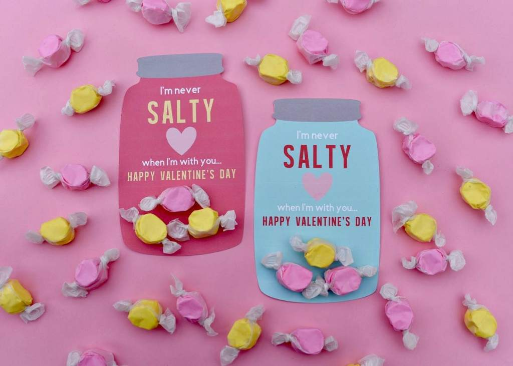 Mason jar free printable valentine cards for Valentine's Day-