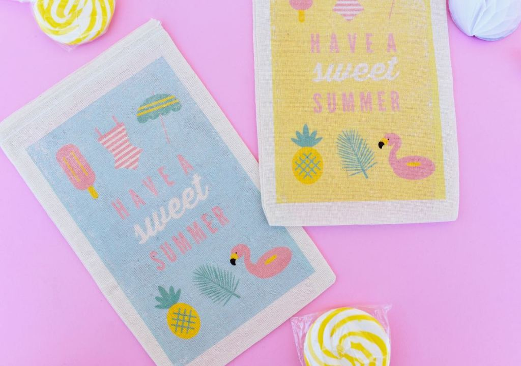 DIY party favor bags with inkjet transfer paper sheets