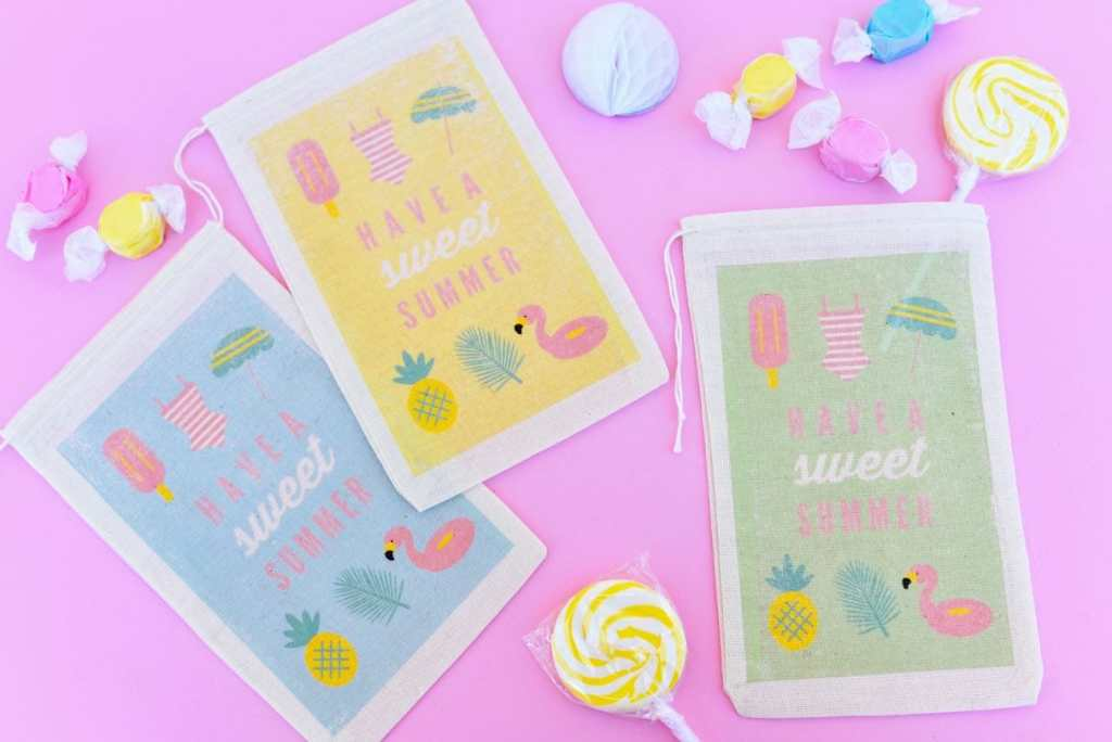 DIY party favor bags with inkjet transfer paper