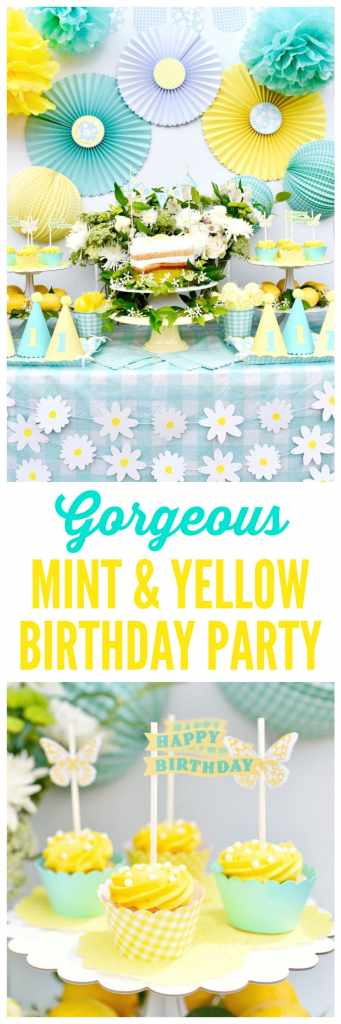 Gorgeous mint and yellow birthday party that's perfect for a girl birthday, a first birthday, an outdoor garden party, Mother's Day, and more! You'll love all the pretty lemon, butterfly, and flower details, along with the Cricut files to create your own party favors and decorations!.jpg