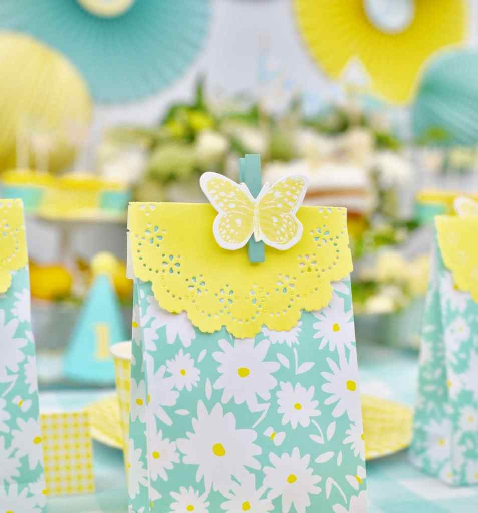 Yellow butterfly party favor bag made with Martha Stewart Meyer Lemon Celebrations line at Michaels