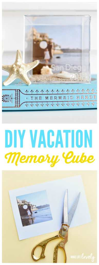 DIY vacation memory cube. Save those summer vacation memories with this fun memory keepsake tutorial!