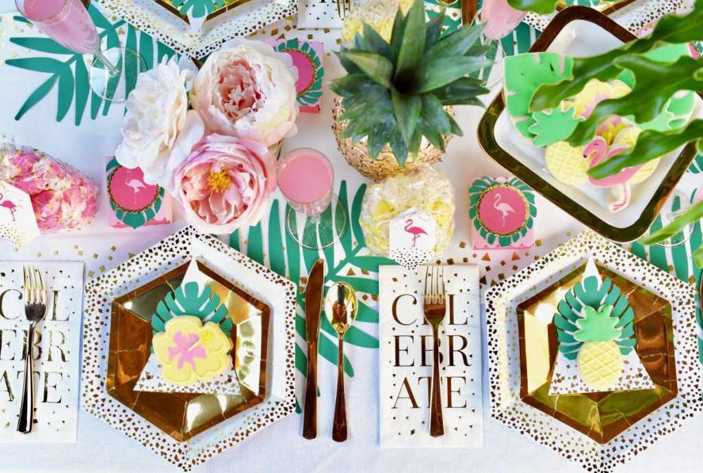Tropical tablescape at a tropical baby shower