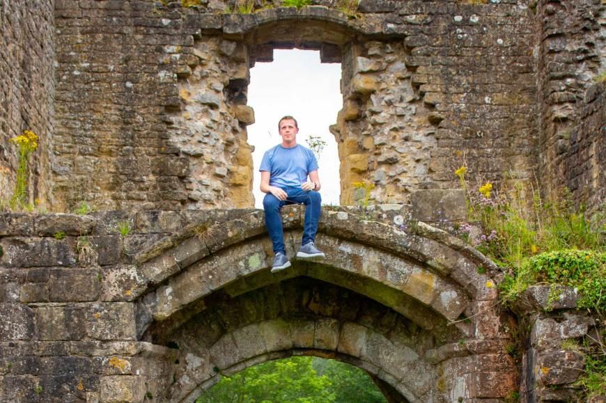 Alan sat on Helmsley Castle