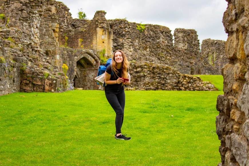 Megan smiling at Helmsley Castle
