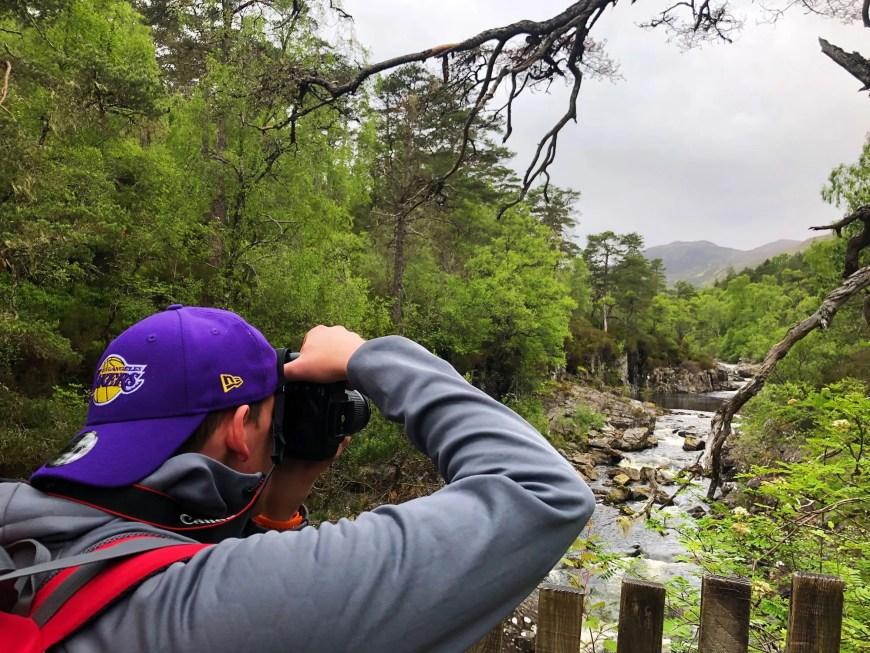 Alan taking a photo at Dog Falls