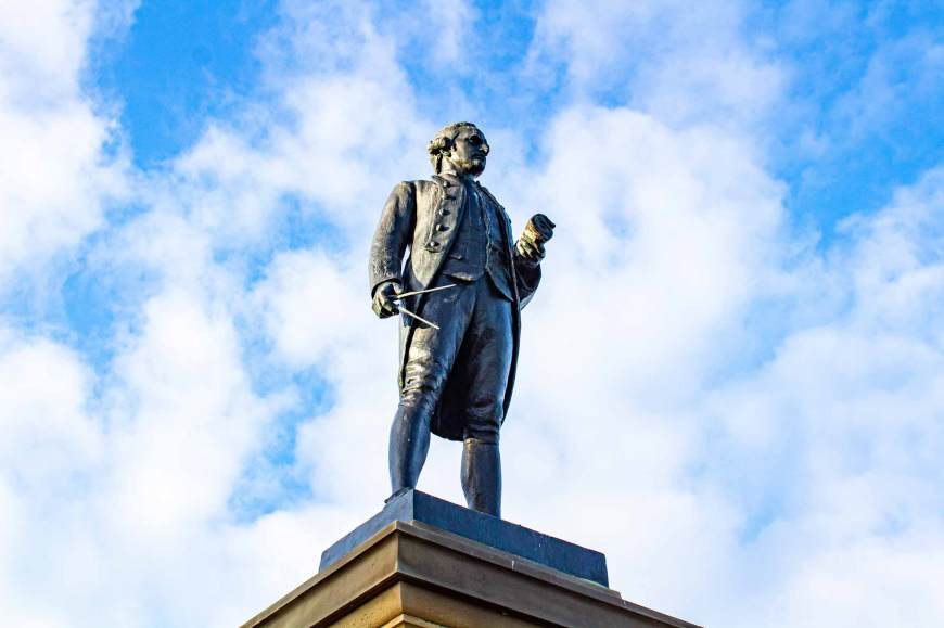 Close up of the Captain Cook Monument Whitby