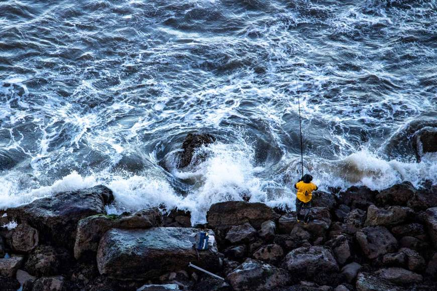 Fisherman near Cayton Bay