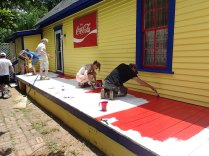 Day 5: Putting some red on the deck.