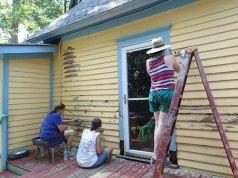Day 1: Jeanne, Duwan, and Emily scrape.