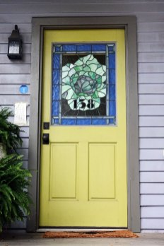 You will see stained glass like this all over the neighborhood. Stained glass artist, Susan McCracken, is a long-time resident.
