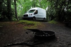 Camped at the Julian Price Campground on the Blue Ridge Parkway. $20 per night and free hot showers!