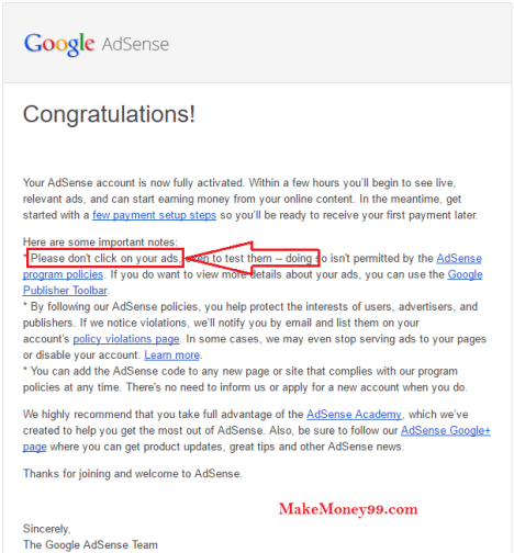 Welcome mail from google adsense