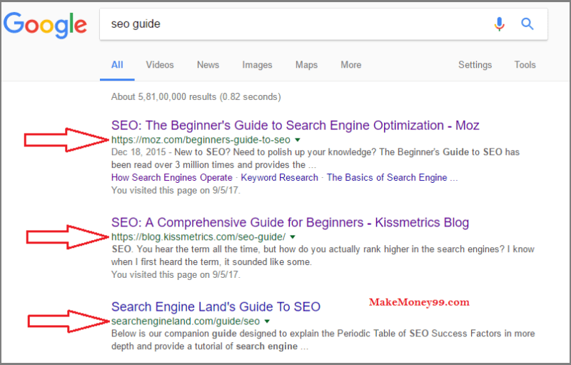 Google search results for seo guide - Short URL