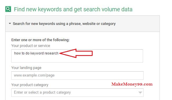 Keyword Research on Google Keyword Planner