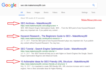 html title tag example in SERP