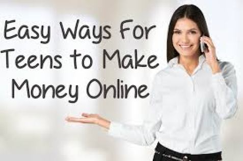 Make Money Online lots of words and woman on her mobile phone