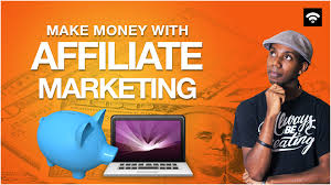 Affiliate marketing a man tap top blue pig on yellow background